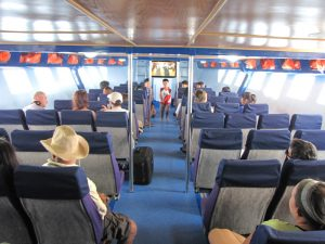 Interior seating aboard the Koh Kood Princess boat