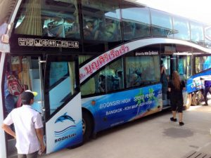 Double decker Boonsiri Bus from Bangkok to Laem Sok